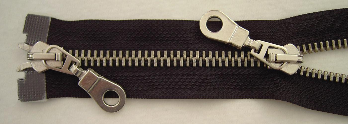 2 Wege Reißverschluß stabile breite Krampe  kunststoff  schwarz teilbar 8mm